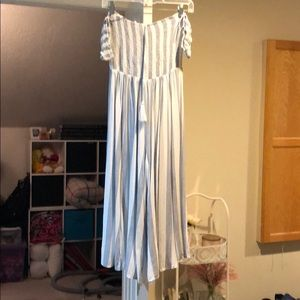 Off the shoulder blue and white jumpsuit